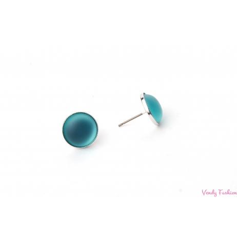Náušnice Velvet Blue Zircon 12mm rhodiované