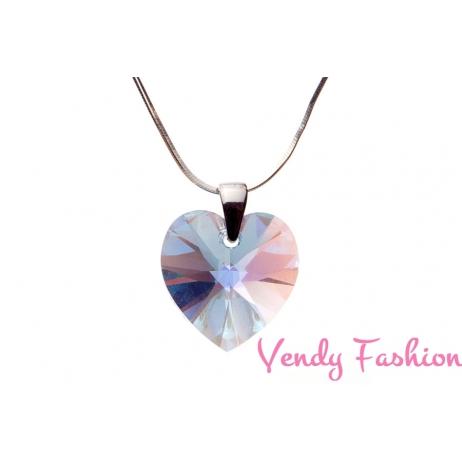 Swarovski srdce Aquamarine AB 18mm náhrdelník rhodium
