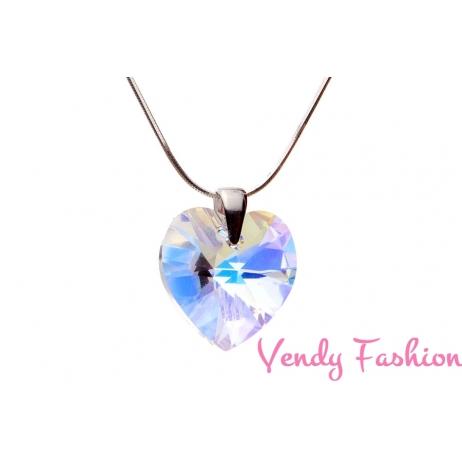 Swarovski srdce Crystal AB 18mm náhrdelník rhodium