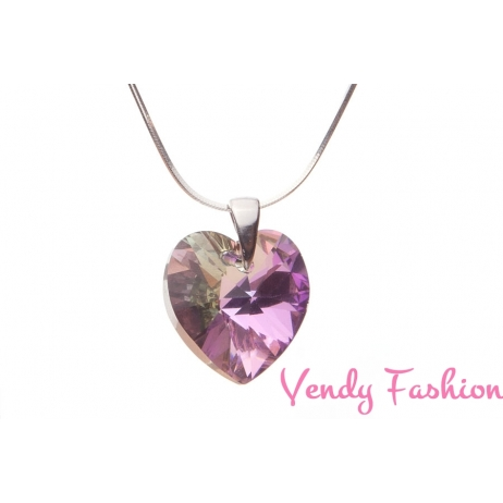 Swarovski srdce Crystal VL 18mm náhrdelník rhodium