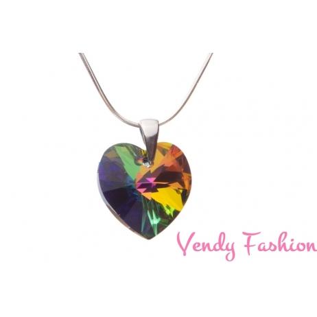 Swarovski srdce Crystal VM 18mm náhrdelník rhodium