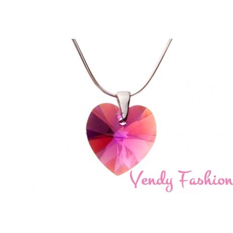 Swarovski srdce Fuchsia AB 18mm náhrdelník rhodium