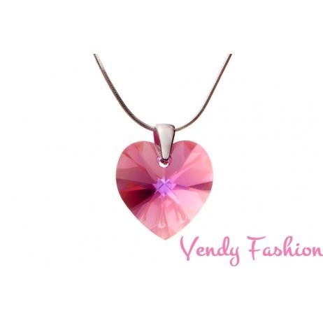 Swarovski srdce Rose AB 18mm náhrdelník rhodium