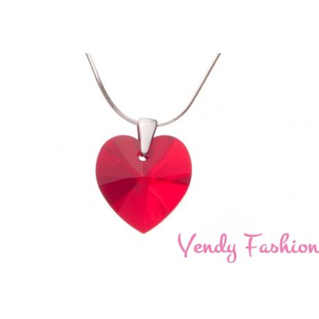 Swarovski srdce Siam AB 18mm náhrdelník rhodium