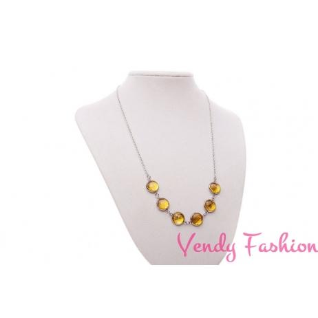 Ocelový náhrdelník se žlutými kabošony s podkladem zlaté barvy