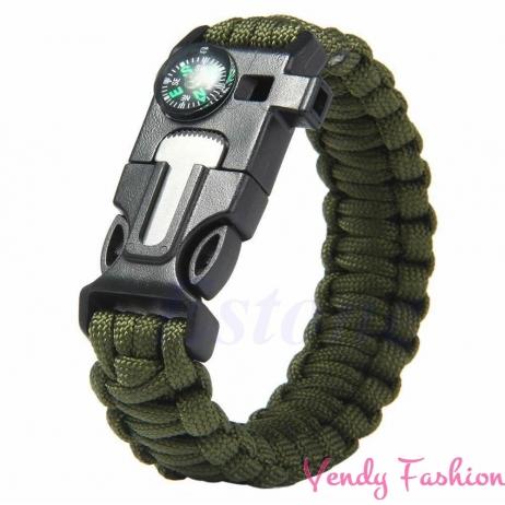 Paracord náramek 5v1 vojensky zelený