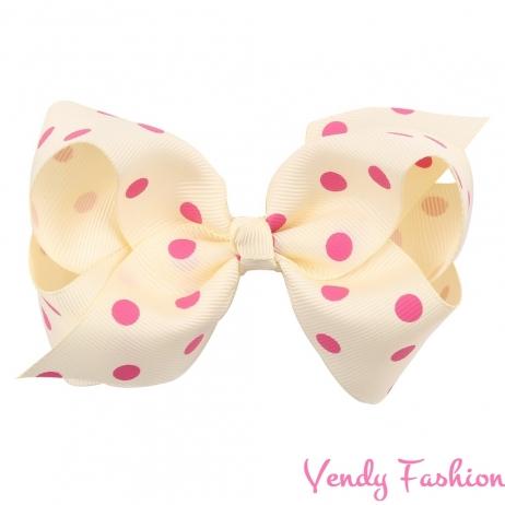 Bílá mašle do vlasů s růžovými puntíky