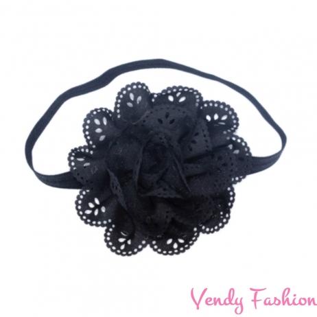 Dětská čelenka s květem černá