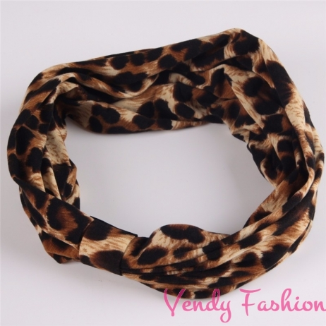 Leopardí látková čelenka široká