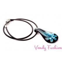 Náhrdelník s millefiori květinou modrý