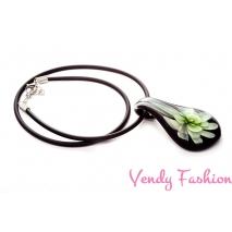 Náhrdelník s millefiori květinou zelený
