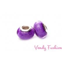Korálky s širokým průvlekem třpytivé fialové