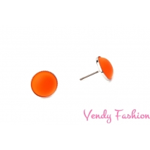 Náušnice Velvet UV Orange 12mm rhodiované