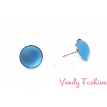 Náušnice Velvet UV Aquamarine 12mm rhodiované