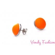 Ocelové náušnice Fimo oranžové DŘ