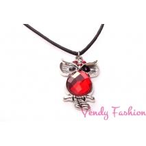 Náhrdelník sovička ozdobená červená
