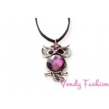Náhrdelník sovička ozdobená fialová