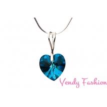 Stříbrný řetízek s Swarovski Crystals srdce Crystal Bermuda Blue 14mm