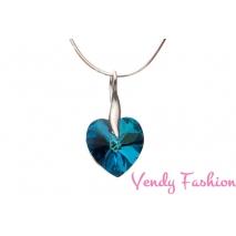 Swarovski přívěsek srdce Crystal Bermuda Blue 14mm + stříbrný řetízek