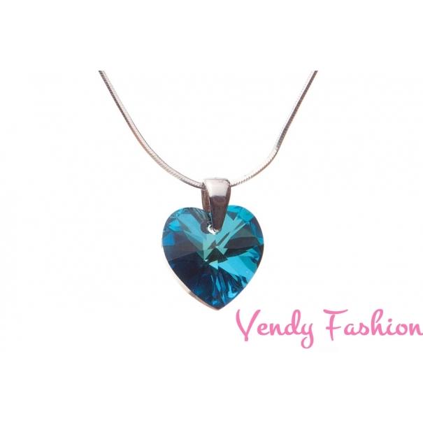 Náhrdelník so Swarovski Crystals srdce Bermuda Blue 14mm rhodiovaný ... bfad3673607