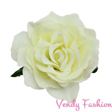 Růže do vlasů mléčně bílá