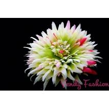 Květina do vlasů bílozelená s růžovými prvky s gumičkou