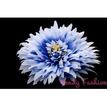 Květina do vlasů světle modrá s gumičkou