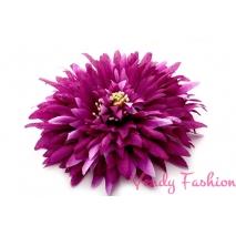 Květina do vlasů tmavě fialová s gumičkou