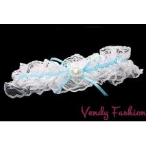 Podvazek pro nevěstu modrý s perličkami