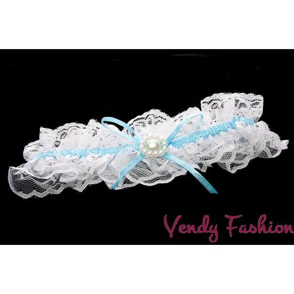 Podvazek pro nevěstu modrý s perličkami ae72748adc
