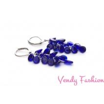 Ocelové náušnice s modrými korálky Preciosa Pip™