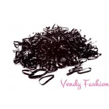 Čierne minigumičky do vlasov - 200ks
