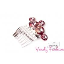 Hřeben do vlasů Swarovski Rivoli Crystal Antique Pink F