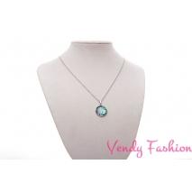 Ocelový náhrdelník s tyrkysovým spodně malovaným kabošonem