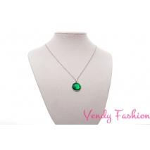 Ocelový náhrdelník se zeleným spodně malovaným kabošonem