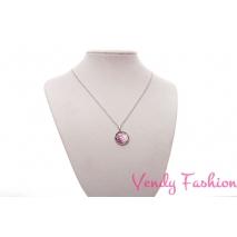 Ocelový náhrdelník s malovaným fialovým kabošonem