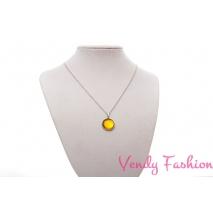 Ocelový náhrdelník se žlutým spodně malovaným kabošonem