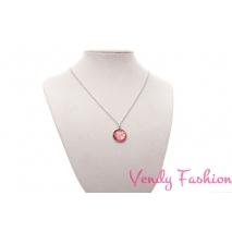 Ocelový náhrdelník s malovaným červeným kabošonem