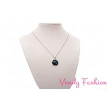 Ocelový náhrdelník s malovaným tyrkysovým kabošonem s proužky