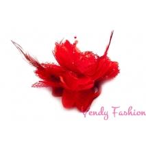 Květina do vlasů s peřím červená
