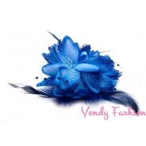 Květina do vlasů s peřím modrá