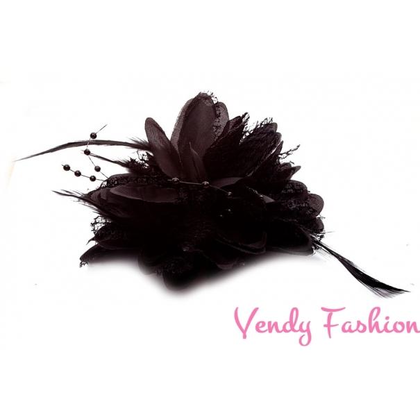 011d4c34c39 Kvetina do vlasov s perím čierna - Vendy-Fashion.cz