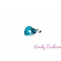 Ocelový náhrdelník se srdíčkem aquamarine