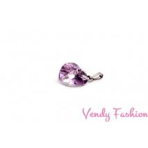 Ocelový náhrdelník s levandulovým srdíčkem
