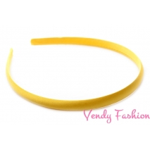 Plastová čelenka krytá stuhou žltá - 1cm