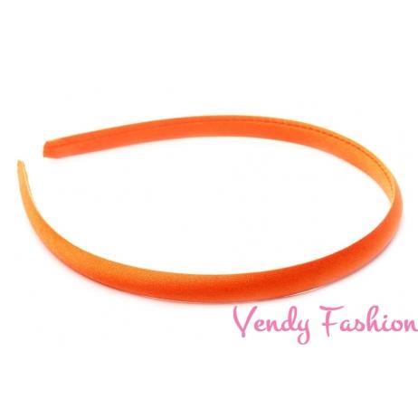 Plastová čelenka krytá stuhou tmavě oranžová - 1cm