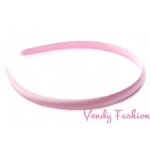 Plastová čelenka krytá stuhou svetlo ružová - 1cm
