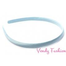 Plastová čelenka krytá stuhou svetlo modrá - 1cm