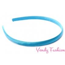 Plastová čelenka krytá stuhou modrá - 1cm
