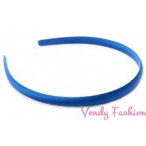Plastová čelenka krytá stuhou safírově modrá - 1cm